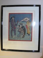Lrg Framed Mihail Chemiakin limited edition lithograph Carnival at St.Petersburg