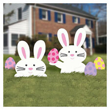 Easter Bunny Yard Party Outdoor Plastic Sign Decoration (5 Pieces), Multi Color
