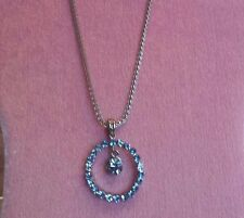 PALE BLUE RHINESTONE CIRCLE PENDANT NECKLACE Thick Silver Tone Chain DANGLING 18