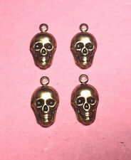 SMALL ANTIQUE BRASS SKULL FINDING WITH RING - 4 PC(s)
