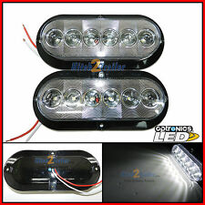 "2- Trailer truck White LED Light Surface Mt 6"" Oval Sealed Backup Reverse FLEET"