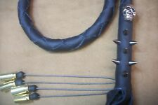biker whip getback BLACK BETTY motorcycle whip SKULLS &SPIKES BY STITCH!!!!