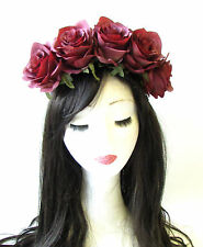 Large Burgundy Red Rose Flower Headband Garland Hair Crown Festival Boho 1370