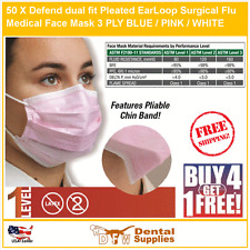 50 X Defend Dual Fit Pleasted EarLoop Surgical Flu Medical Face Mask Level1 PINK