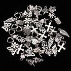 50 Bulk Mixed Tibetan Silver Charm Pendants Beads DIY Jewelry Findings Necklace