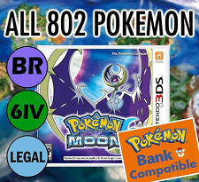 POKEMON MOON UNLOCKED 100% - All BR Legal 802 Shiny, MAX Items, 3-day shipping!