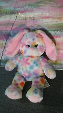 EASTER BUNNY RAINBOW FLOWERS PLUSH BUILD A BEAR PINK GIRL SINGING TOY COLORFUL
