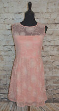 Modcloth Pink Embroidered Dress NWT Sz L IXIA illusion neckline party cocktail