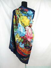 "US SELLER | flower 39"" large satin square scarf vintage shawls for dresses"