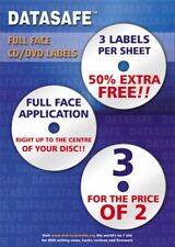 300  Datasafe CD DVD Gloss Full Face 3UP Labels