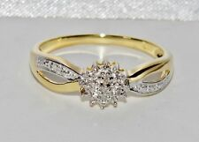 Beautiful 9ct Yellow Gold & Silver Diamond Cluster Ring - size U