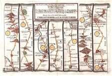 Antiguo Mapa, el camino de ferrybridge a Boroughbridge Cont. a Barnard Castle