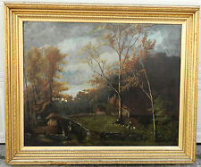 Antique Hudson River Valley Painting B F Tryon BIG Exhibition Lemon Gold Frame