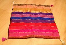 Moroccan Fair Trade Multicoloured Bright Striped Cushion Cover Sabra Silk