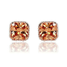 Square Rose Gold Cubic Zirconia Stud Earrings Sparkly