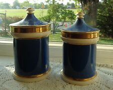 VINTAGE SET OF 2 PORTMEIRION STOKE TRENT ENGLAND BLUE GOLD LID JAR APOCTHECARY
