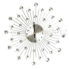 33cm Diamante Crystal Jeweled Beaded Sunburst Wall Clock Stylish Art Home Decor