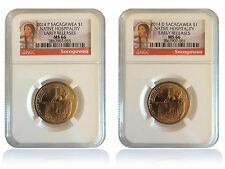 NGC MS66 2014 P&D Native Hospitality Sacagawea Dollar Set Early Releases Gem