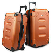 US Traveler Long Haul 2pc Orange Cargo Trunk Case Rolling Luggage Suitcase Set