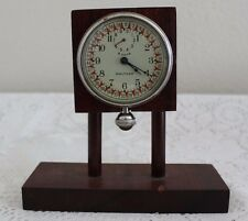 WALTHAM 8-DAY CAR CLOCK (OVERSIZED POCKET WATCH) W/ RED ARROW DIAL ~ WORKS!