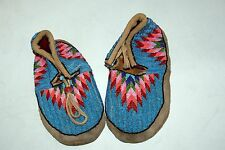 (A) Hand sewn Blackfoot beaded powwow moccasins - Ladies size 6