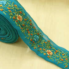 Indian Vintage Sari Border 1YD Embroidered Sewing Trim Wrap Blue Ribbon Lace