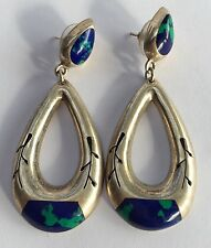 "Vintage Modernist Mexican Sterling Silver Azurite Dangle Earrings 2 1/2"" Long"