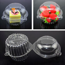 New 20 Individual Clear Plastic Single Cup Cake Muffin Case Pods Domes Boxes