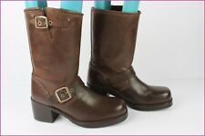 VINTAGE BOOTS PRETTY and SHOES Motard Cuir Marron T 40 TBE
