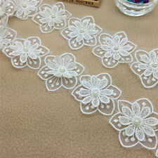 Hot 1Yards 2-layer White Embroidered Flower Applique Pearl Core Lace Trim  NO53