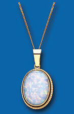 """Yellow Gold Large Opal Oval Pendant With 18"""" Chain British Made - Hallmarked"""