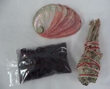 Abalone Shell White Sage Smudge Stick & Black Salt Cleansing Kit (Cleansing)
