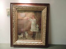 Antique Picture Frame Oak Gold Gilt Gesso 25 x 29  16 x 20   Print Girl Pug Dog