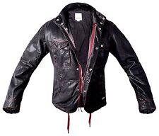 DIESEL L-BHAL LEATHER JACKET mens coat BLACK BIKER Black Red Motorcycle L CLARET