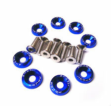 Blue Aluminium M6 Washer and Bolt Kit pack of 8 ideal for Spoilers / Trim