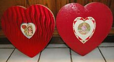 "2 LARGE 13 1/2""  1920's-30's Valentine Heart Candy Boxes Boosalis Bros Faribault"