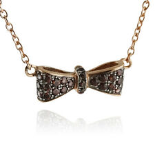 Rose Gold Bow Necklace - 925 Sterling Silver with CZ Stones - Bow Tie Bows NEW