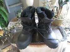 WOMENS 9 SOREL KAUFMAN~CANADA BLACK BOOTS WITH FAUX FUR & LINER