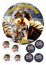 """TIGERS ANIMALS CAKE TOPPER ROUND EDIBLE ICED ICING FROSTING 7.5"""" +8 CUPCAKE"""