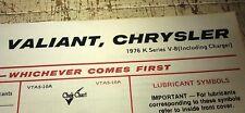 1976  CHRYSLER VALIANT VK CK V8    - BP Australia Lube Chart - CHARGER