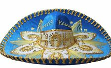 Adult Mexican Mariachi Hat Sombrero Charro Cinco de Mayo Folk Art Aqua Gold