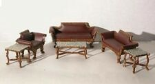 LEATHER LIVINGROOM DOLLHOUSE MINIATURES by IDM Miniatures Heirloom Collection