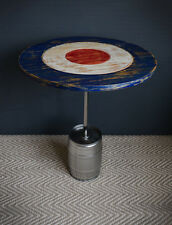 Coffee side or end table made from an upcycled beer keg with target design top