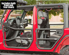 Rugged Ridge Front and Rear Black Tube Half Doors for 2007 - 2015 Jeep Wrangler