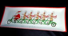 """Prima Glass Serving Dish Tray Rectangle Plate 15.5"""" Christmas Grand Entrance"""