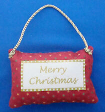 """Merry Christmas pillow ornament fabric 5""""x3""""x1"""" red and green"""