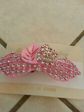 Crystal pink Rhinestone Hair clip bridal flowers barrette Hairpin free ship