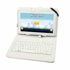 "White Cover For 10"" 10.1"" 10.2"" Tablet PC Leather Stand Case USB Keyboard"