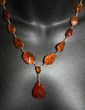 """Vintage Hand Wire Wrapped Baltic Amber Pendant Necklace 23.5""""L"""