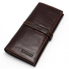 100% Top Genuine Vintage Soft Bifold Oil Wax Real Leather Men's Long Wallet